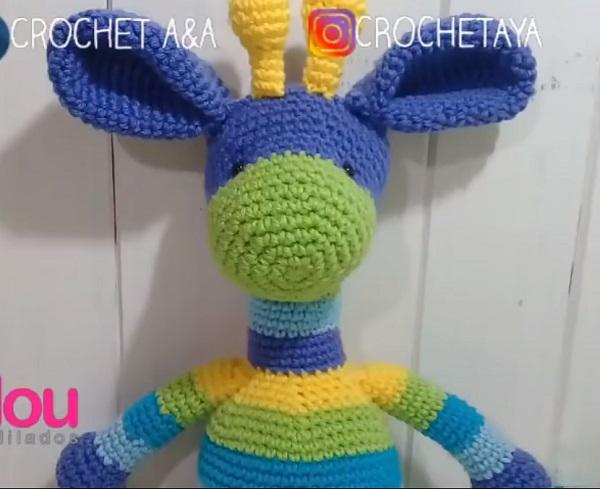 jirafa de arco iris amigurumi crochet juguete por JoyToysbyTatiana ... | 489x600